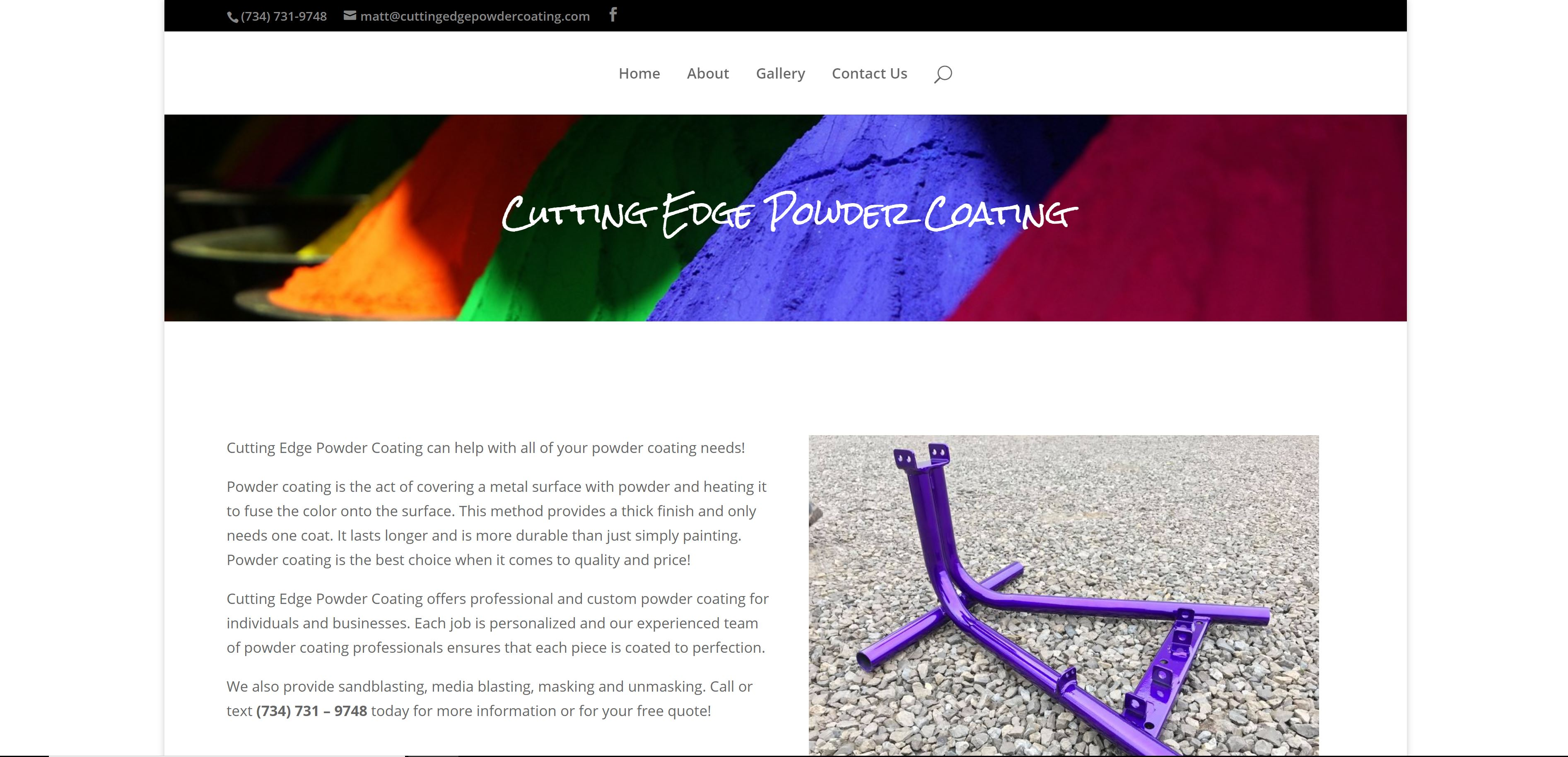 Cutting Edge Powder Coating by WP3 Web Design